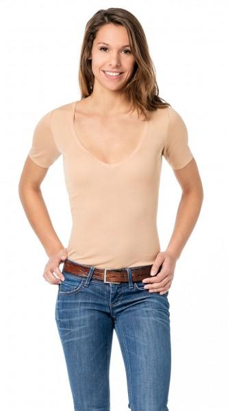 Unsichtbares Unterhemd Damenunterhemd hautfarben mit halbem 1/2 Arm - Business Unterhemd Damen