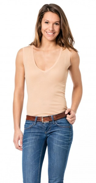 Unsichtbares Unterhemd Damenunterhemd hautfarben ohne Arm - Business Unterhemd Damen